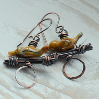 Orange Brown Lampwork Glass Bird and Copper Earrings