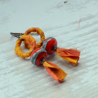 Orange Red Sari Ribbon with Red and Turquoise Lampwork Glass Earrings