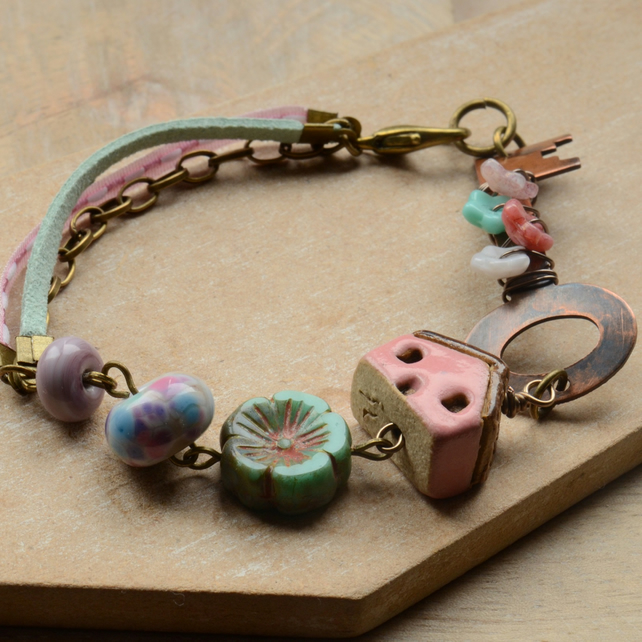 Copper Beaded Key Bracelet with Pink House, Lampwork & Czech Beads