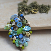 Czech Bead Blue, Green & Cream Wire Wrapped Pendant Necklace