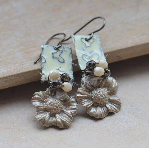 Cream Flower Clay Earrings with Butterfly Vintaj Metal and Czech Beads