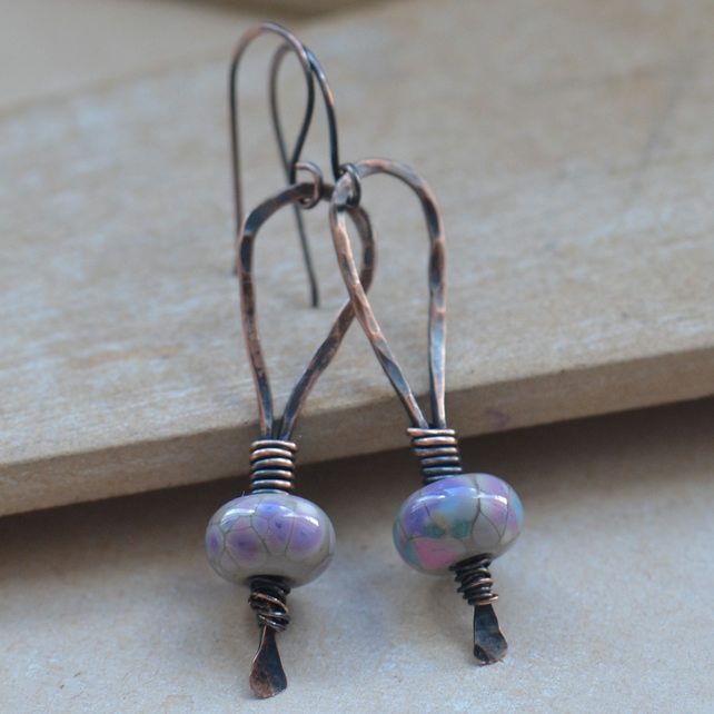 Copper and Grey Pastel Lampwork Glass Bead Earrings