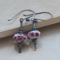 Lampwork Glass Grey and Burgundy Copper Earrings