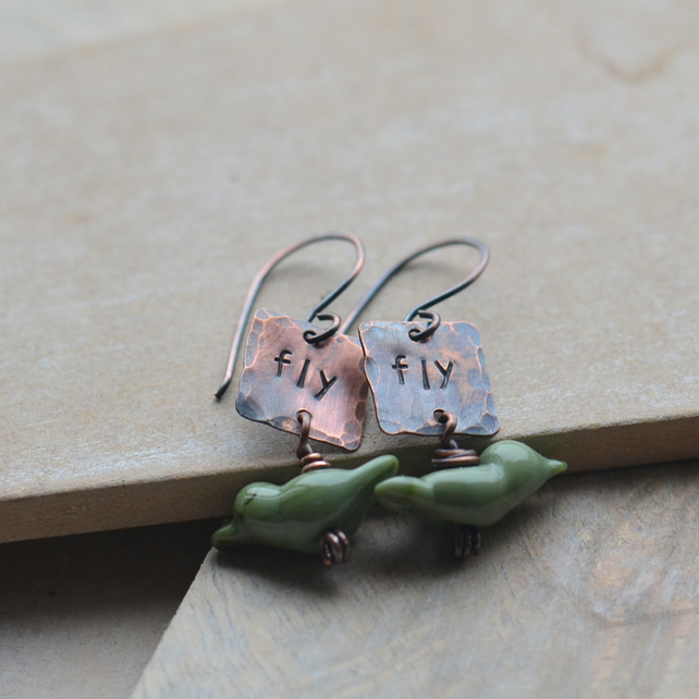 Copper Fly Earrings with Olive Green Lampwork Glass Birds
