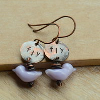 Lilac Purple Lampwork Glass Bird and Hand Stamped Fly Copper Earrings