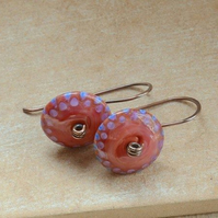 Red Blue Lilac Lampwork Glass Bead and Copper Earrings