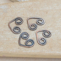 Handmade Copper Deco Heart Links - Set of 4 - Oxidised