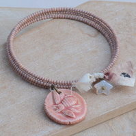 Dusky Pink Memory Wire Wrap Bracelet with Ceramic Bee Charm