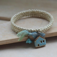 Memory Wire Wrap Bracelet with Seed Beads & Ceramic Blue House bead