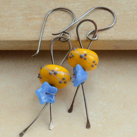 Yellow & Blue Lampwork Glass and Copper Bead Earrings