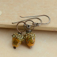 Mustard Lampwork Glass Acorn Bead & Copper Earrings