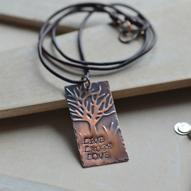 Handmade Copper Embossed Stamped Pendant Necklace with Brown Leather Cord