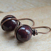 Handmade Deep Purple Agate Gemstone Copper Earrings