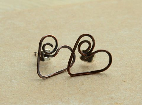 Handmade Copper Swirl Heart Earrings