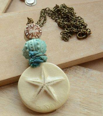 Cream Ceramic Starfish, Blue Urchin & Clay Bead Necklace