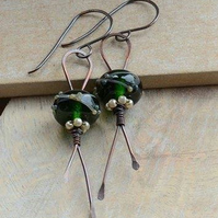Copper Earrings with Green Lampwork Glass Beads and Czech Pearls