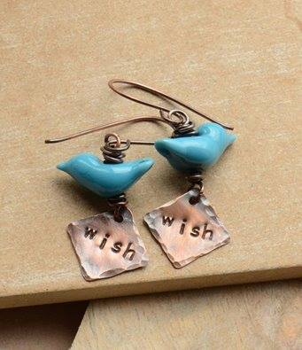 Handmade Copper Earrings with Blue Glass Birds and Wish Copper Charms