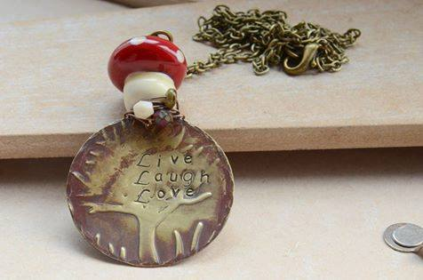 Live Laugh Love Stamped Brass Pendant Necklace with Glass Toadstool and Beads