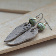 Ceramic driftwood Earrings with green lampwork glass beads