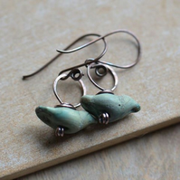 Rustic Blue Green Lampwork Glass Bird and Copper Earrings