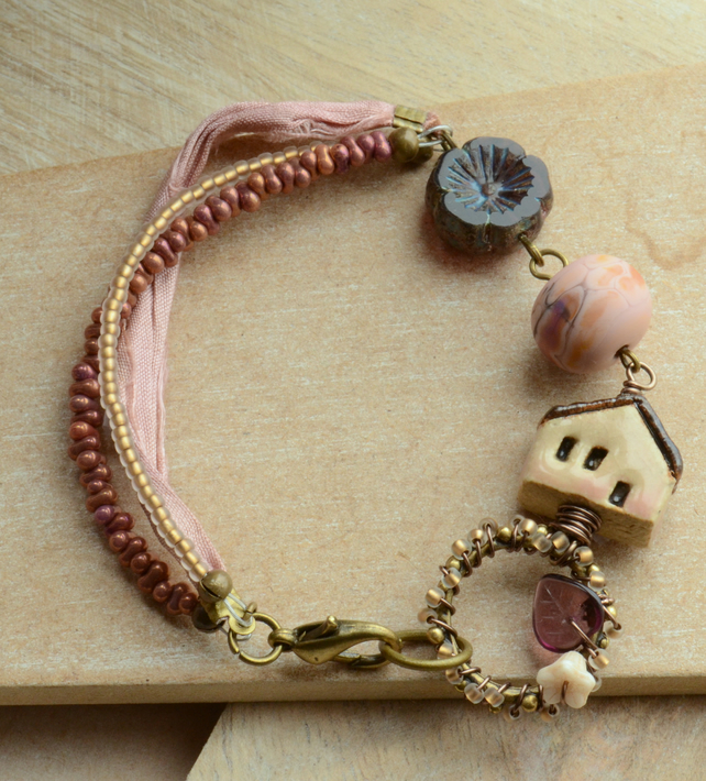 Bracelet with ceramic peach house, Czech flower, connector and Lampwork Bead