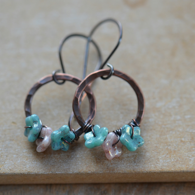 Handmade Copper Earrings with Pink and Blue Czech Flowers