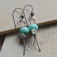 Mint Green Polka Dot Lampwork Glass and Copper Earrings with Flower