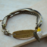 Mustard Ceramic Leaf Bracelet with Flowers, Chain and Ribbon