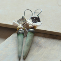 Enjoy Life Earrings with Ceramic Green Drops, Ribbon & Brass Charms