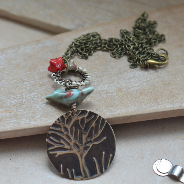 Vintaj Tree Embossed Necklace with Lampwork Bird and Flower Connector