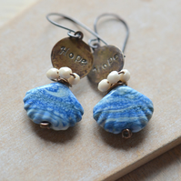 Copper Earrings with Lampwork Glass Blue Shells, Hope Brass Charms