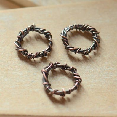 Handmade Copper Ring O Roses Oxidised Links