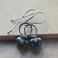 Handmade Copper and Black Polka Dot Lampwork Glass Bead Earrings