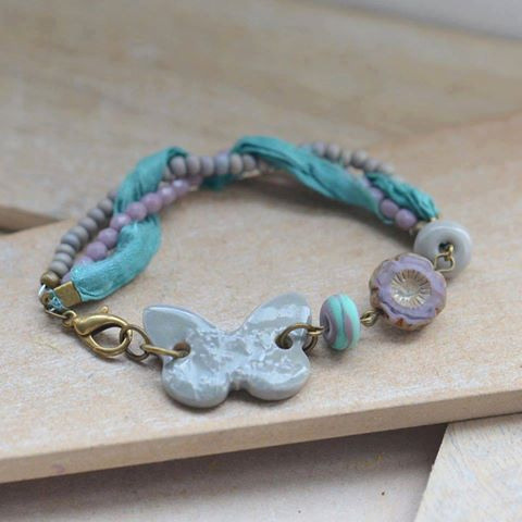Bracelet with ceramic Grey Butterfly, Lampwork Beads, Flower and Ribbon