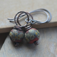 Handmade Copper Earrings with Red Rustic Lampwork Beads