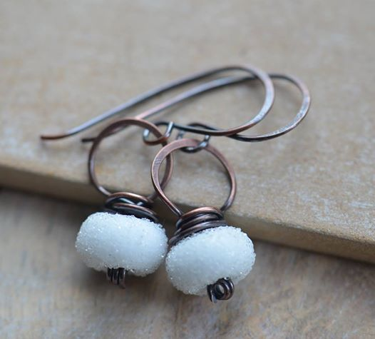 Handmade Copper Earrings with White Sugar Lampwork Glass Beads