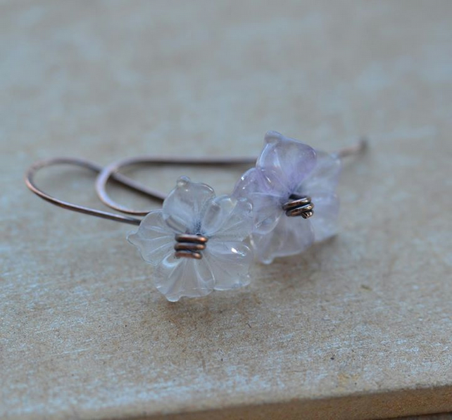 Handmade copper earrings with Fluorite gemstone flowers