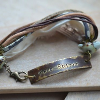 Free Spirit Hand Stamped Brass Bracelet with Lampwork Bird and Bead with Ribbon