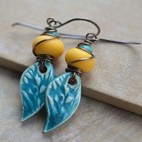 Turquoise Ceramic Drop and Yellow Lampwork Bead Earrings