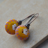Yellow Pink Lampwork Glass and Flower Copper Earrings