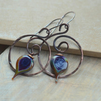 Dark Blue, Purple Lampwork Glass Leaf and Copper Earrings