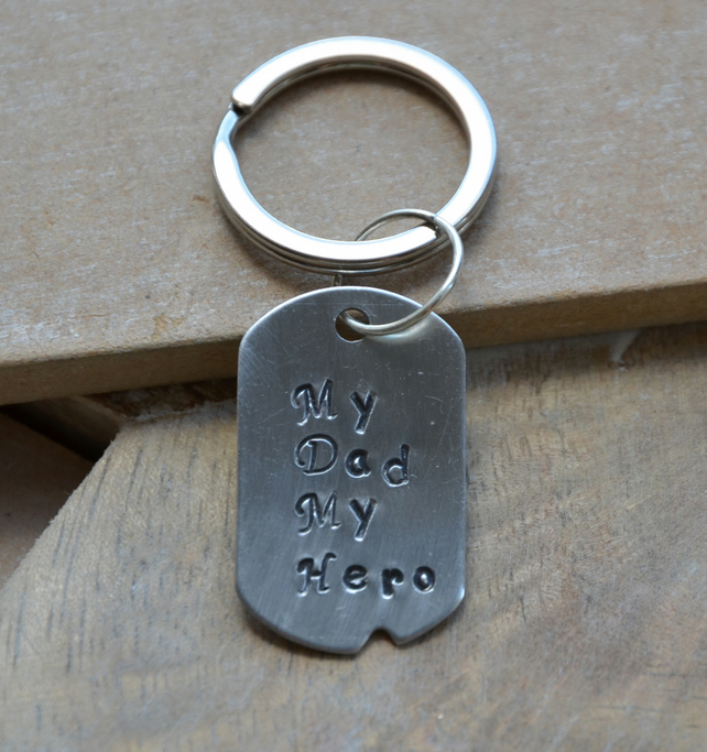 My Dad My Hero Aluminium Hand Stamped Keyring