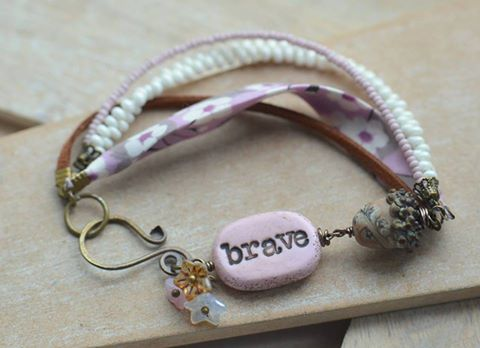 """Brave"" Clay, Lampwork Glass Acorn, Flower, Ribbon & Bead Bracelet"