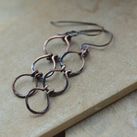 Copper Triple Loop Hoop Dangle Earrings