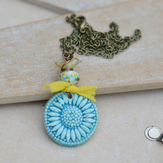 Turquoise Ceramic Daisy Pendant Necklace with Lampwork Bird and Bead