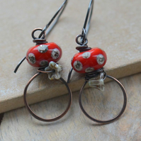 Copper Earrings with Red Polka Dot Lampwork Glass Beads