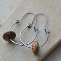 Copper Hoop Earrings with Lampwork Glass Beads