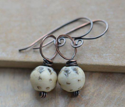 Beige Cream Lampwork Bead and Copper Earrings
