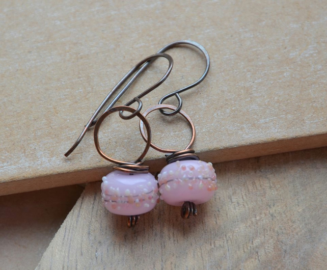 Handmade Copper and Pink Lampwork Glass Bead Earrings