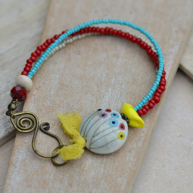 Bracelet with Floral Lampwork Bead, Bird, Seed Beads, Czech Beads & Brass Clasp